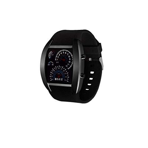 Newin Star Unisex Deportes Watc, Reloj del Tablero de Instrumentos Reloj Deportivo Digital de Aire electrónico con Cuero Brazalete del Ventilador de marcación Forma de Reloj