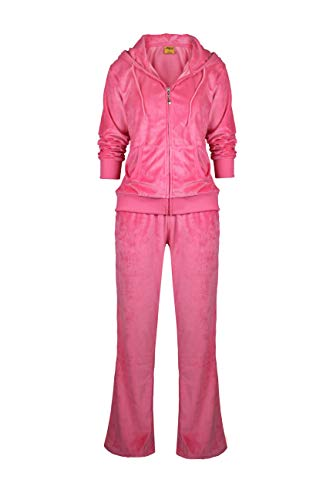 Womens Velour Tracksuit Set Soft Sports Joggers Outfits 2 Pieces Sweatsuits Zip Up Hoodies and Sweatpants (Coral, S)