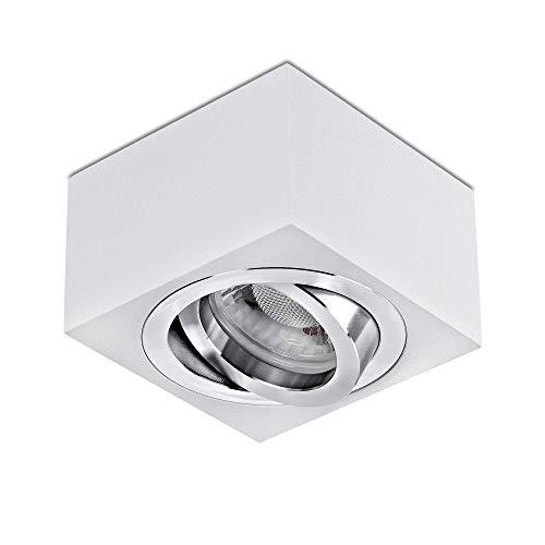 lambado® Premium LED Aufbaustrahler flach/Deckenstrahler Set inkl. 230V 5W Spots dimmbar - eckige Aufbauleuchte/Deckenspots in weiss