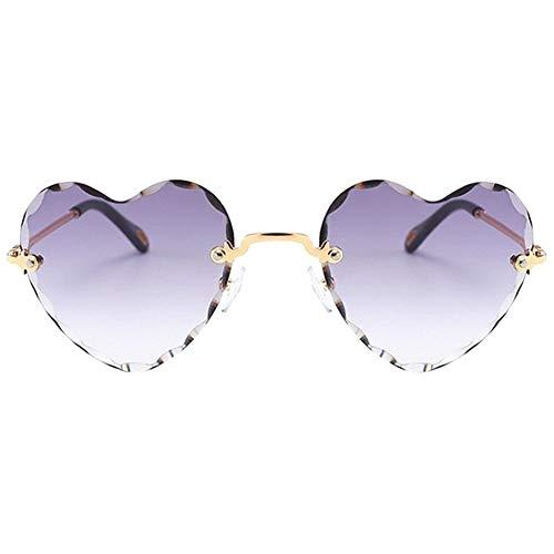JXZPL Donne Elegante a Forma di Cuore Senza Montatura degli Occhiali da Sole della Struttura del Metallo Sottile Protezione UV di Vetro di Sun for per Beach Vacation (Lenses Color : Gray)