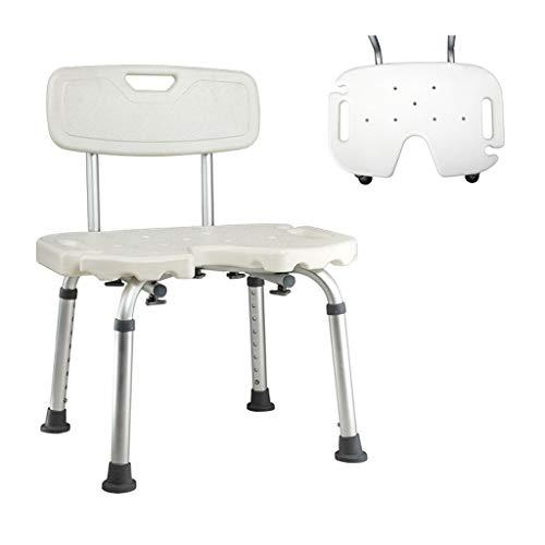 Douchestoel, antislip in hoogte verstelbare badkruk met afneembare rugleuning en douchegoot - voor ouderen Handicap met een handicap