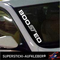 SUPERSTICKI®Winschutzscheibe Aufkleber ca.55cm Boo ST ED kompatibel für Ford Fiesta Focus Autoaufkleber Tuning Decal A780 aus Hochleistungsfolie Aufkleber Autoaufkleber Tuningaufkleber Hochleistu