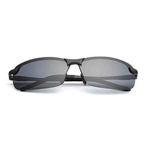 Sunglass Fashion Hombres Marco Cuadrado clásico Moda Rana Espejo Gafas de Sol Protección UV Polarizado AL-MG Gafas de Sol de aleación para (Color : Red, Size : Free)