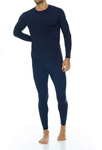 Thermajohn Men's Ultra Soft Thermal Underwear Long Johns Set with Fleece Lined (X-Small, Navy)