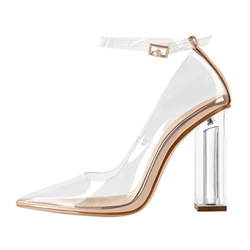 MissHeel Damen Transparente Schuhe mit Kristall Absatz EU 43