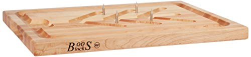 John Boos Block SLIC Reversible Cutting Board with Tree Shaped Moat, Stabilizing Pins and Juice Groove, 20 Inches x 15 Inches x 1.25 Inches