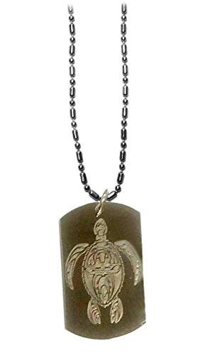 Hawaiian Tiki Celtic Turtle Logo Symbols - Military Dog Tag Luggage Tag Key Chain Metal Chain Necklace