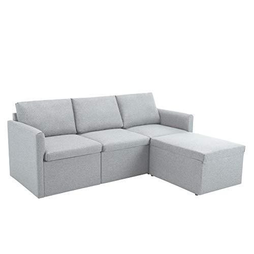 jeerbly Sofá esquinero de 3 plazas, sofá de esquina izquierdo o derecho, sofá de tela en forma de L, con sofá otomano Morden para sala de estar, color gris claro