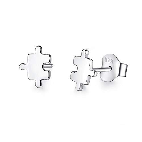 Gold Gala Pendientes pequeños de Plata de ley 925 para Mujeres y Niña (Puzzle)