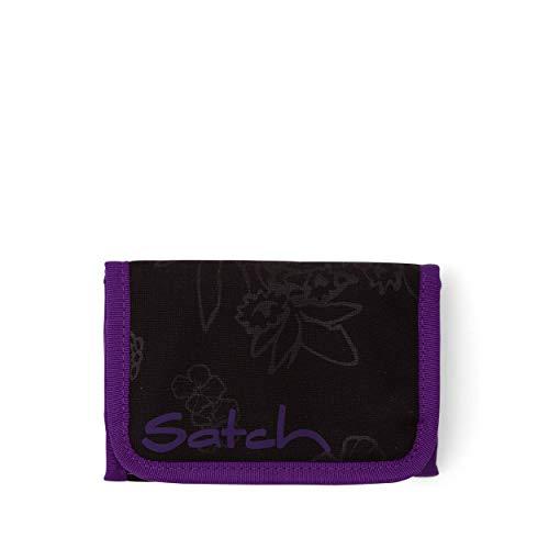 satch Geldbeutel - Münzfach, Geldscheinfach, Sichtfenster - Purple Hibiscus - 2017, Schwarz