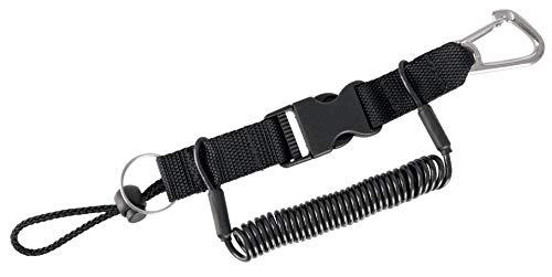 Seac Unisex-Adult Edelstahl Spiralhalter Kabel 1.3 mt mit Karabinerhaken, schwarz