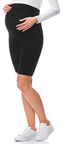 Be Mammy Kurze Umstandsleggings aus Viskose BE-04 (Schwarz, M)