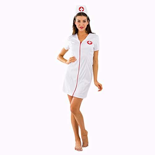 Disfraz de Enfermera Sexy de Lujo Disfraces de médico Cosplay Uniforme de Hospital Ropa Interior de tentación Juego de Roles de Halloween, Blanco, M