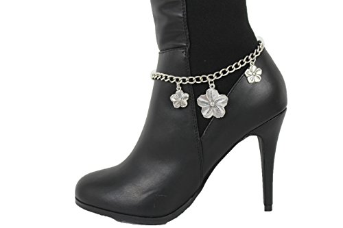 TFJ Women Western Fashion Jewelry Boot Bracelet Silver Metal Chain Shoe Western Flowers Leaves Charm