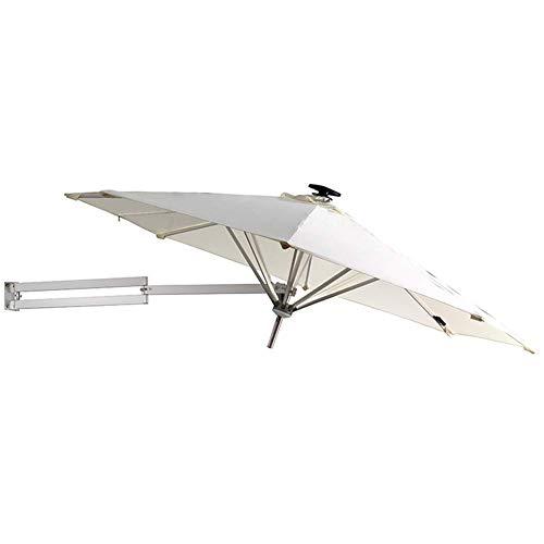 GBTB Sombrillas y Oslash;8 pies / 250 cm montado en la Pared con Luces LED solares - Sombrilla de jardín para Exteriores con Ajuste de inclinación, Blanco Roto