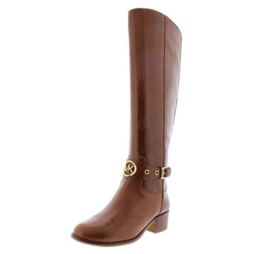 Michael Kors MK Women's Knee High Leather Heather Riding Boots Dark Caramel (6 M US)