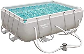Bestway 56631E Power Steel Above Ground Pool, White/Gray