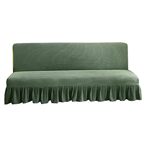 BXFUL Funda de sofá sin brazos, poliéster y elastano elástico, funda de futón, funda de asiento de sofá cama, protector de muebles sin reposabrazos (120 – 140 cm x 100 cm), verde oscuro