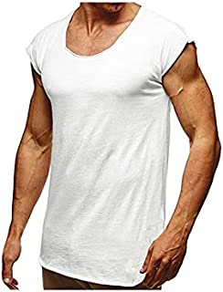 Wanxiaoyyyinnsdx Mens Henley Short Sleeve, Men Casual Round Neck T-shirts Plus Size Solid Color Short Sleeves Top Tees Str...