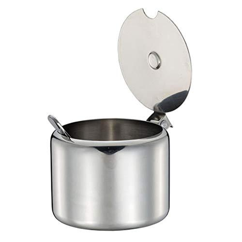 Vaorwne Tarro de acero inoxidable con tapa y cuchara, para azucarero, condimento, recipiente para especias