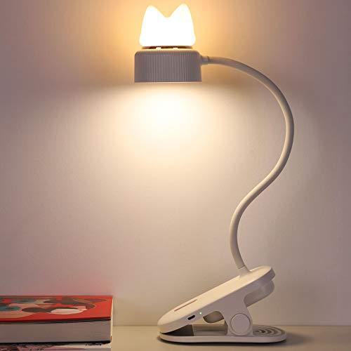 クリップライト ナイトライト 1台2役 読書灯 3階段調光 200ルーメン 4.44W 1200mAh USB充電式 卓上ライト 360°回転 デスクライト 目に優しい ledテーブルライト 長寿命 省エネ 明るい オシャレプレゼント(ネコ-ホワイト)