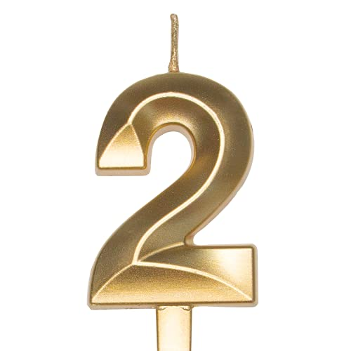 Diamond Metallic Gold Number【2】Birthday Cake Candle | Food Safe PP Plastic Stick | 3.75in 3D Smooth Golden Glitter Numeral Topper Decor for Wedding Anniversary, Kids Party Celebration ,Family Baking
