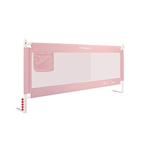 HXLQ Bed Rails, opklapbare bedleuningen, anti-val kinderbedring, geschikt voor wiegen, tweepersoons- en kingsize bedden, groen, roze, grijs 2.2m roze