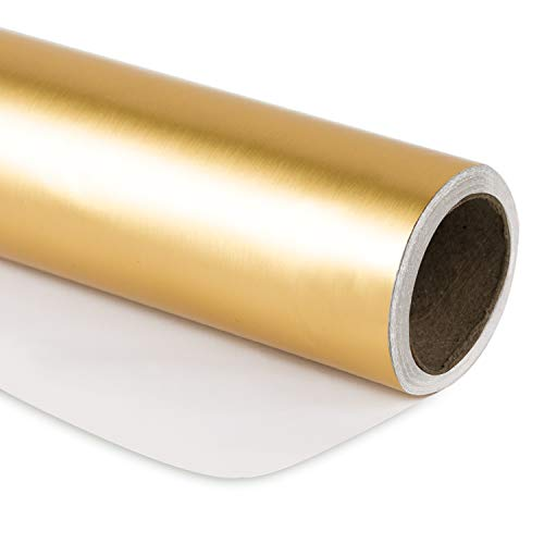 RUSPEPA Gift Wrapping Paper Roll - 81.5 Sq Ft Matte Gold for Wedding,Birthday, Shower, Congrats, and Holiday Gifts-30Inch X 32.8Feet