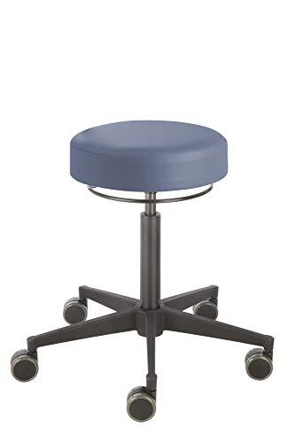 Prova Nova GmbH Rollhocker Poppi® Dublin 4301, Sitzhöhe ca. 53-73 cm, umlaufende Ringauslösung, Kunststoff-Fußkreuz, Komfort-Rollen, Polsterdekor:Stamskin Atlantik-blau