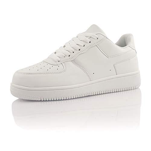 Fusskleidung® Damen Herren Sportschuhe Dämpfung Sneaker leichte Laufschuhe Weiß Weiß EU 42