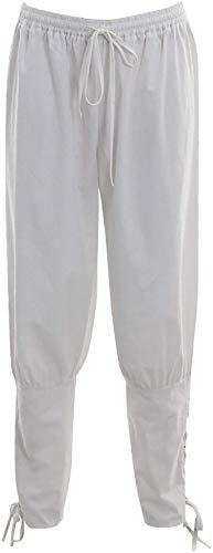 Bslingerie Herren Mittelalterliche Renaissance-Hose mit elastischer Taille (Weiß, XL)