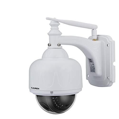FLOUREON 5MP IP Kamera WLAN Überwachungskamera PTZ Netzwerkkamera, Outdoor IP Cam, 5X Zoom P2P, Nachtsicht Bewegungsalarm, unterstützt Micro SD Karte(SD17W)