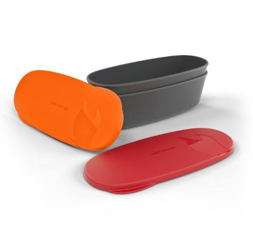 Light My Fire Snap Box Lot de 2 boîtes ovales étanches Rouge/Orange