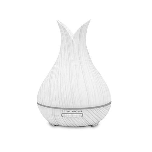 Lixada Aromatherapie Etherische olie diffuser Aroma Diffuser 7 kleurrijke LED-lampen waterloos automatische uitschakeling koeler mist luchtbevochtiger wit houtpatroon