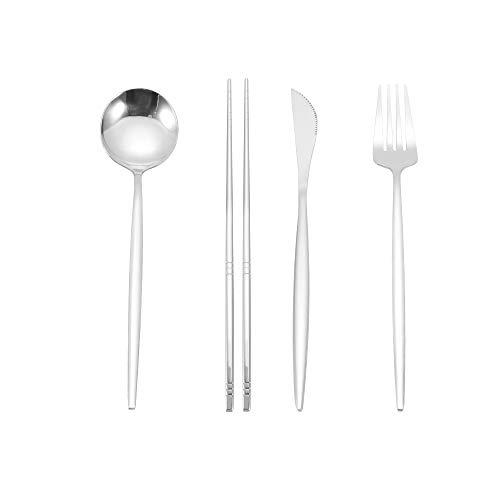 Cubiertos de acero inoxidable, vajilla con cuchara de cuchillo dorado, vajilla occidental, vajilla, utensilios para comer, incluye tenedores / cucharas, etc. Apto para lavavajillas con pulido espejo