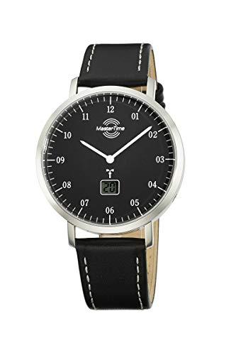 Master Time Funk Quarz Herren Uhr Analog mit digitalem Datum mit Leder Armband MTGS-10704-32L