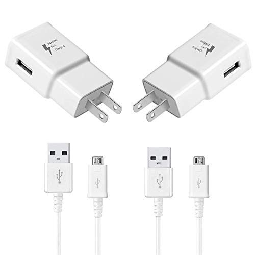 Samsung Adaptive Fast Wall Charger Adapter Compatible Samsung Galaxy S7/S7edge/S3/S5/S6/S6 Edge/S4 Charger,75% Increase in Charging Speed,Micro USB 2.0 Cable Kit, (White 4 Piece Set)