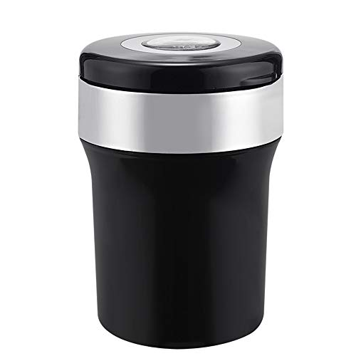 TFACR zwart auto asbak, draagbaar asbak, rvs auto asbak met deksel, led licht, kompas doos, voor de meeste auto Cup houder