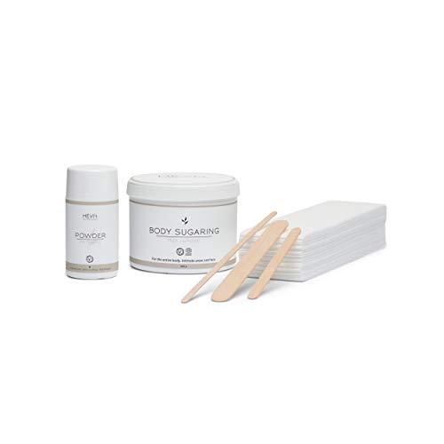 HEVI Body Sugaring Starter-Set 600g | Zuckerpaste zur Haarentfernung | 1 Dose Zuckerwachs 100 Vliesstreifen 10 Spatel 1 Puder | 4 Wochen Haarfrei | Bio-zertifiziert | Für ganzen Körper | Intimbereich