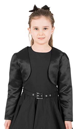 BlackButterfly BlackButterfly Kinder Satin Langarm Bolero Mädchen (Schwarz, 5-6 Jahre)