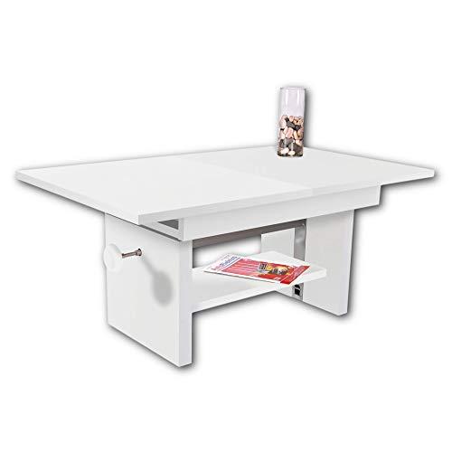 EVENT Couchtisch höhenverstellbar & ausziehbar in Weiß - praktischer Sofatisch mit Ablage für Ihren Wohnbereich - 110 x 48 x 65 cm (B/H/T)