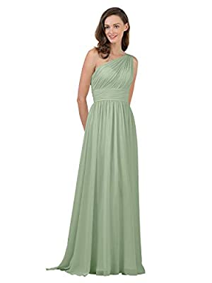 ALICEPUB Sage Green Bridesmaid Dresses Chiffon Long Maxi Formal Party Dress for Women One Shoulder, US10