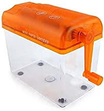 Mini Hand Shredder SENREAL Portable Paper Shredder A6 Manual Shredder Documents Paper Cutting Tool Home Office Desktop Stationery-Orange
