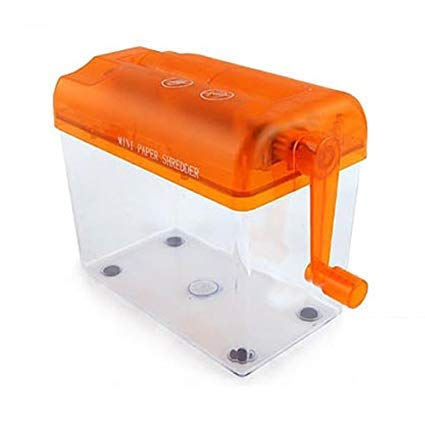 Mini Hand Shredder SENREAL Portable Paper Shredder A6 Manual Shredder Documents Paper Cutting Tool Home Office Desktop Stationery-Orange