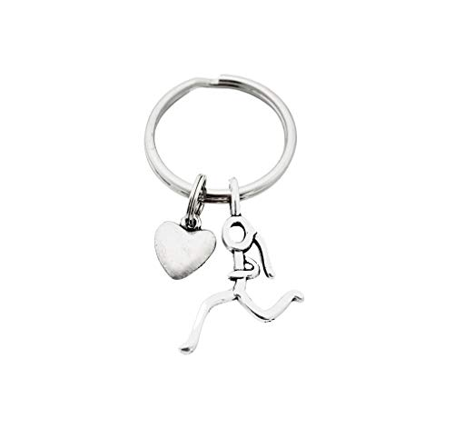 Heart of a Runner Girl Key Chain - Pewter Puffed Heart and Pewter Stick Figure Runner Girl Charm on Stainless Steel Round Key Ring