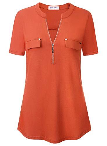 Bulotus Orange Tops for Women Women's Classic V-Neck Zip Front Short Sleeve Blouses for Summer Orange M