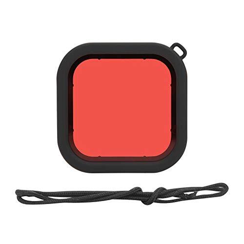 Vbestlife Filtro de Buceo con Lente de cámara de acción, Filtro Impermeable de Buceo subacuático con Cuerda Colgante para GoPro 8(Rojo)