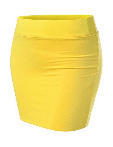 Nearkin Damen Minirock, enganliegend, elastisch, mehrlagig Gr. X-Large, Nknkw3s-gelb