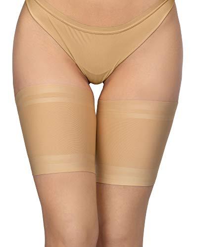 Annes Elastische Oberschenkelbänder für Damen, scheuern nicht, verhindern das Reiben der Oberschenkel, aus Satin und mit Spitze gefütterter Protektor aus rutschfestem Silikon Gr. Medium, Satin Visone
