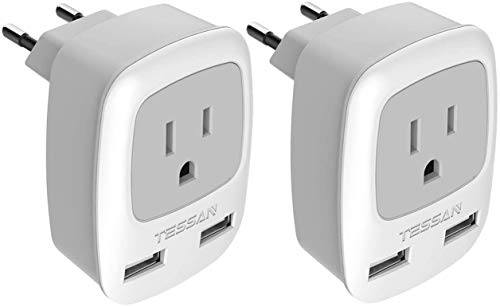 European Plug Adapter 2 Pack, TESSAN International Travel Power Outlet...